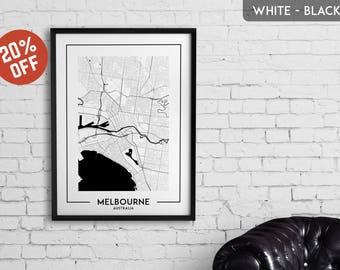 MELBOURNE map print, Melbourne poster, Melbourne wall art, Melbourne city map, Melbourne map decor, Melbourne decoration, Melbourne gift