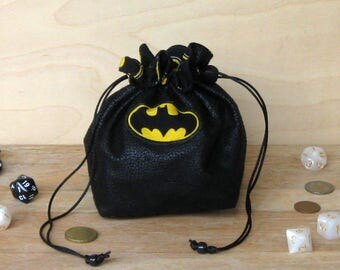 Batman Dice Bag, Stand Up Drawstring Pouch, RPG, Strategy Games, Dungeons & Dragons, Cosplay, DnD, Dice Games