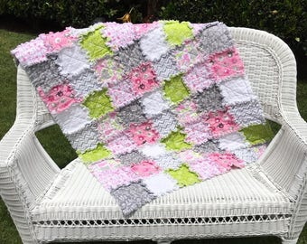 Pink and Green Baby Rag Quilt