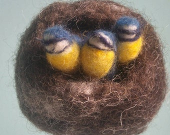 Hanging Bird's Nest and  Three Birds, Blue Tits, Needle Felted, Wet Felted, Spring, Hand Crafted, Birthday, Gift