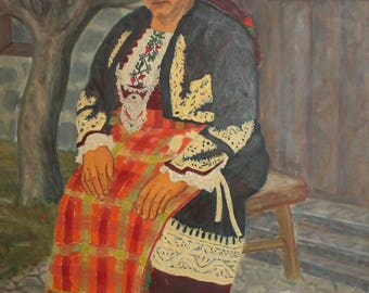 1976 Portrait oil painting woman with folk costume signed