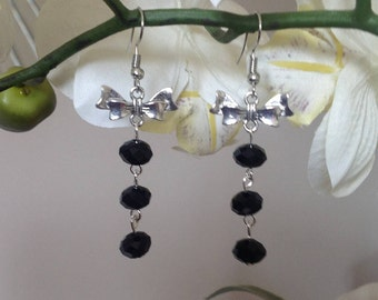 Bow earrings black earrings long earrings dangle earrings drop earrings