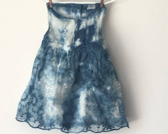 New girls indigo hand-dyed lace dress - shibori style
