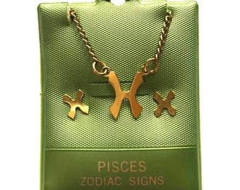 Vintage Pisces Necklace and Earring Set