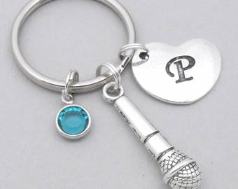 Microphone heart initial keyring | microphone keychain | personalised microphone keyring | singer keyring | singer keychain | singing gift
