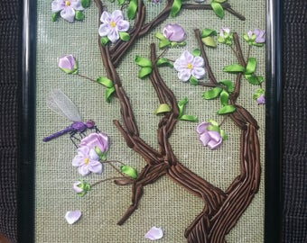 Dragonfly Visiting Cherry Blossoms, Embroidery, Ribbon, Hand-made
