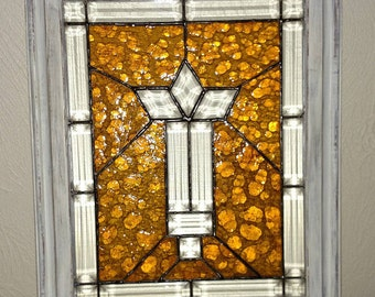 Stained Glass Panel Beveled Old Amber Bubble Glass Framed Shabby chic Old Farmhouse Décor Free Shipping Within USA