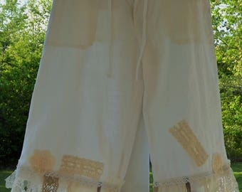 Tattered gypsy lace capri bloomers shabby chic