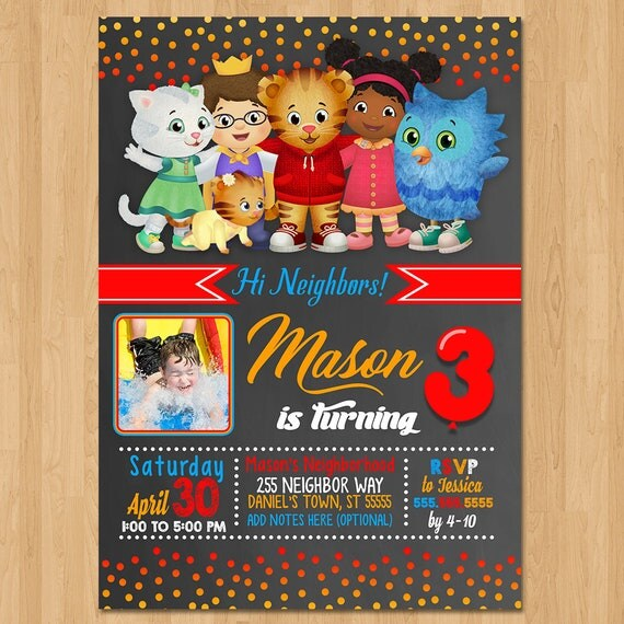 Daniel Tiger Invite - Chalkboard Red Orange Blue - Daniel Tiger Birthday Party Invite - Daniel Tiger Party Favors - Photo Invite - Printable
