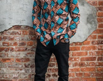 Deutch Wax Fabric,Men's long half collard long sleeves shirt.