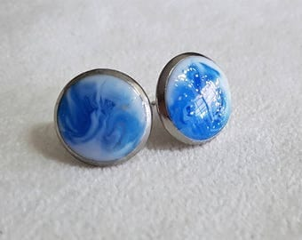 Ocean inspired resin stud earrings