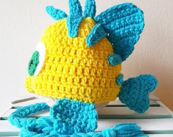 Crochet Flounder Hat Beanie The Little Mermaid Newborn Infant Baby Toddler Child Adult Handmade Photography Photo Prop Baby Shower Gift