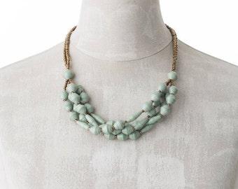 Paper necklace FELISTAS | gray green | Uganda