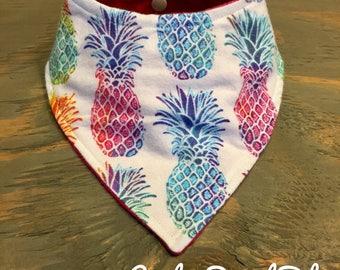 Baby Bandana Bib, Cool 2 Drool Bib, Baby / Toddler Bandana Bib, Drool Bib, Stylish, Bright Vibrant Pineapples, Hawaiian, Flannel