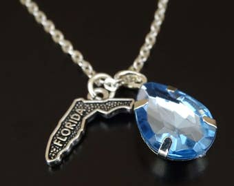Florida Necklace, Florida Charm, Florida Pendant, Florida Jewelry, Florida State Necklace, Florida State Jewelry, Florida Map, Florida Gifts