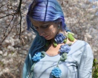 Crochet flower necklace, flower necklace, crochet lariat, flower lariat, flower scarf, gypsy scarf, hippie scarf, festival accessory
