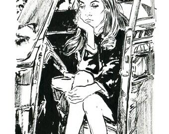 Aimee - Print   Illustration   Art   Decor   Wall Decor   Coloring   Black and White