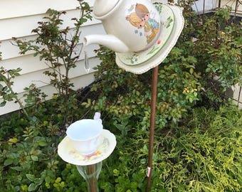 Precious Moments tea pot birdfeeder