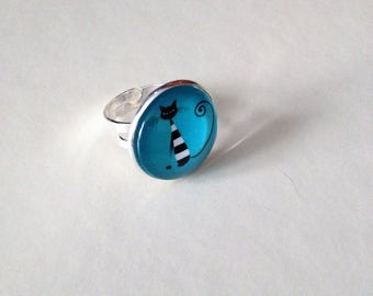 Ring black and white cat sitting turquoise blue background