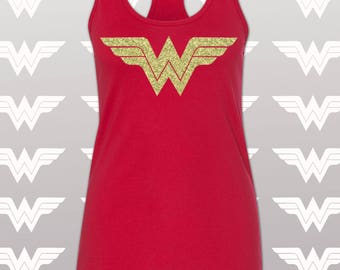 Wonder Woman Shirt Running Tank Top / Wonder Woman Marathon with Gold Shimmer WW Logo / Costume / Women's  Tank / Wonder Women Tank /