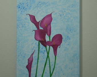 Calla Lilly Flowers Painting on a beautifully made blue background.