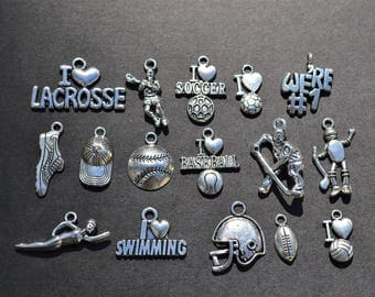 Sports Charm Collection, Set of 16 Silver Charms, Baseball, Football, Soccer, Volleyball, Lacrosse, Hockey, Swimming, Mix, Lot, Theme (CC47)