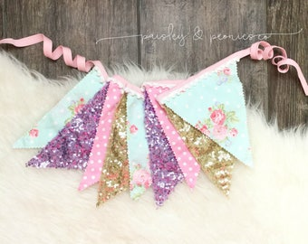 Garland Banner Bunting - Fairy tale Princess Unicorn Girls Room - Banner - Photo Prop -  First Birthday Decor - Glitter - Sequin Fabric
