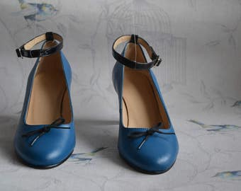 Royal Blue and black women shoes