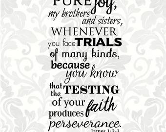 James 1:2-3 SVG - Consider it pure joy, my brothers and sisters, whenever you face trials of many... (SVG, PDF, Digital File Vector Graphic)