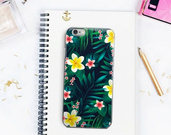 Tropical Leaves iPhone 5/6/7 Case Tropical Flowers Floral iPhone 7 Case Floral Pattern Phone Case Witty Novelty