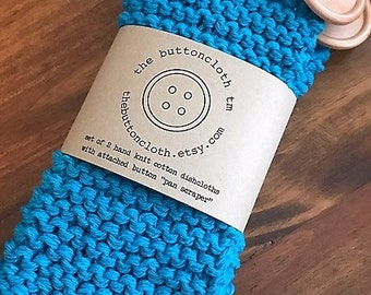 Set of 2 Cotton Dishcloths - Choose From 26 Colors - Hand Knit - Super Thick - Attached Wood Button Pan Scraper - The Buttoncloth tm