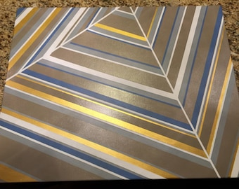 Paintamid abstract acrylic painting, pyramid in color stripes