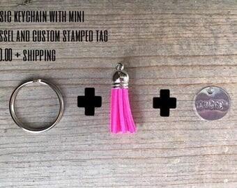 Mini tassel with Stamped Tag