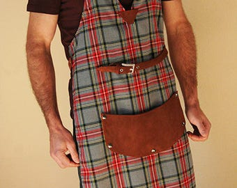 Fabric and leather Glasgow apron