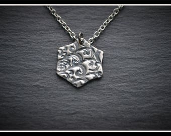 Engraved Hexagon Pendant - Silver Precious Metal Clay (PMC), Handmade, Necklace - (Product Code: ACM026-17)