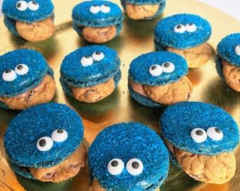 Half Dozen Cookie Monster Macarons