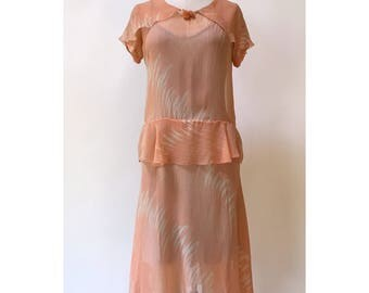 Vintage 1920s Sherbet Pink Silk Dress XS