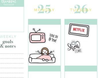 Tv show netflix couch potato mix planner stickers