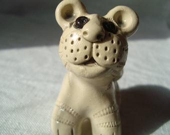 White tiger, Ceramic tiger, Miniature, Tiger cub, Tiger Figurine, Tiger Statue, Pottery