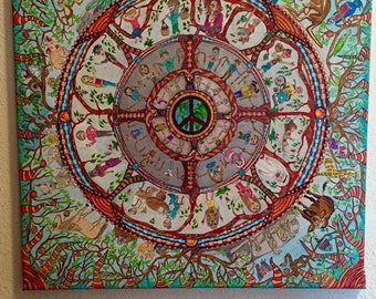 peace, heal the world, mandala, canvas, zentangle, colorful, canvas