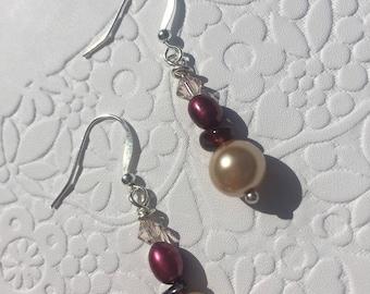 Autumn Daze Garnet Pearl Swarovski and Silver Earrings