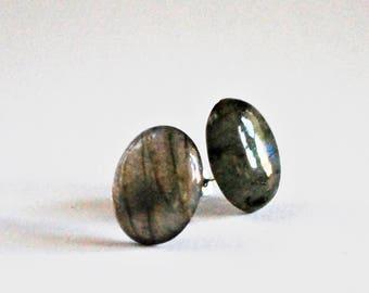 Natural Blue Labrodite Stud Earrings (set 1)