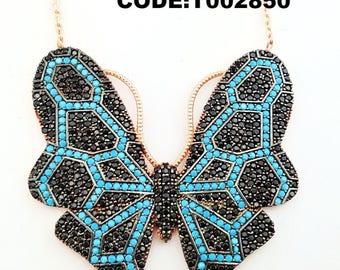 Black mosaic necklace , quality zircon,silver