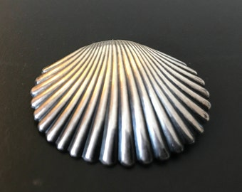 Vintage Sterling Silver Sea Shell Brooch Marked BEAU