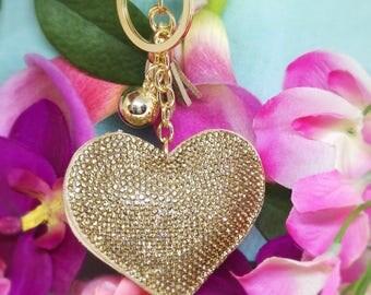 Keychain, bag srtass heart jewelry
