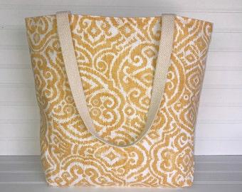 Handmade Everyday Tote | Market Bag |  Yellow Geometric Tote