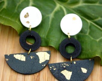 Polymer Clay Earrings~ Geometric Earrings~ Handmade Jewelry~ Polymer Clay Jewelry~ Gold Leaf Jewelry~ Dangle Earrings