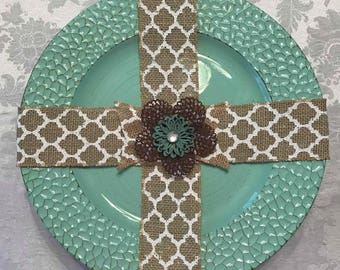 Burlap Charger Cross - Rustic Teal and Red Open Flower on Scalloped Burlap