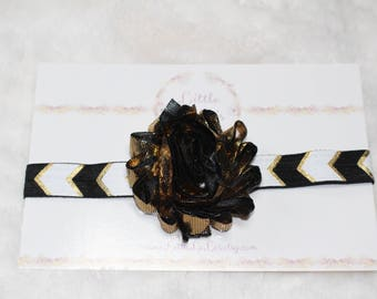 Newborn/Baby/Toddler Gold & Black Shabby Flower Headband with black, white, and gold chevron elastic