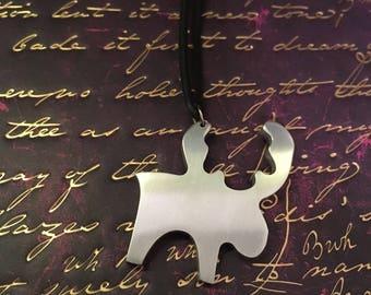 Primitive Nordic moose silver coloured aluminium pendant